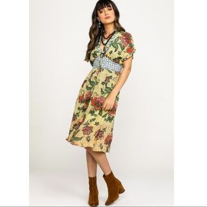 Angie boho yellow floral button up midi dress